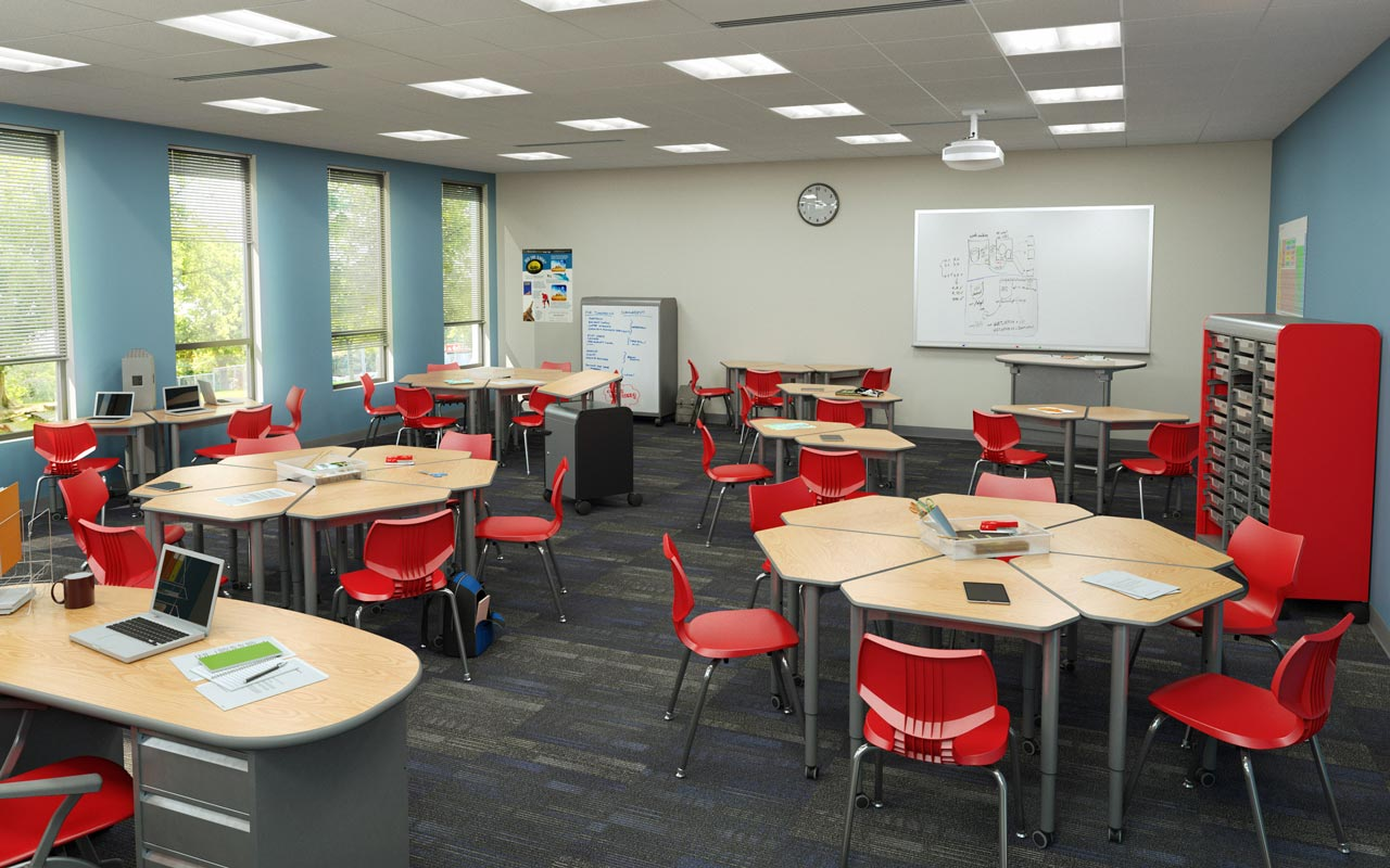 Modern classroom with tables, red chairs, and a large whiteboard on the wall