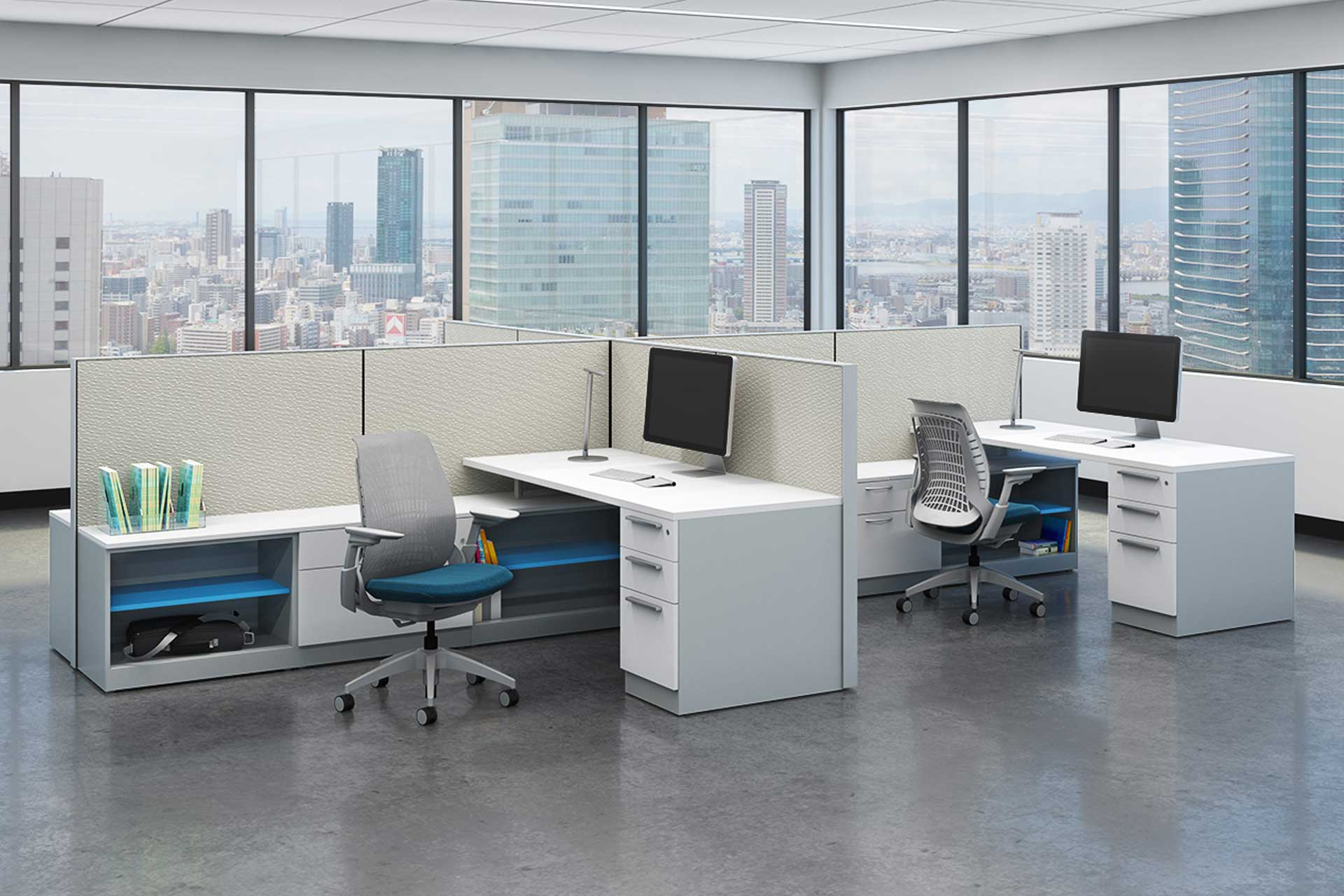 Modern office with two identical cubicles in front of wide windows