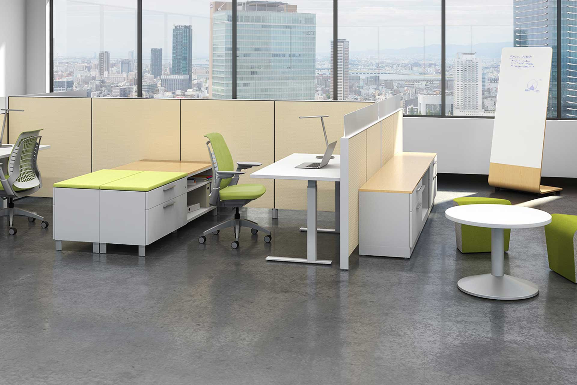 Modern office featuring lime green, wood, and white furniture