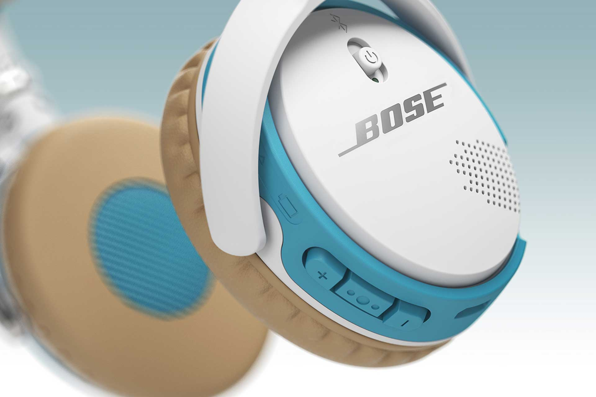 Detailed perfect 3D images of blue, white, and tan BOSE headphones