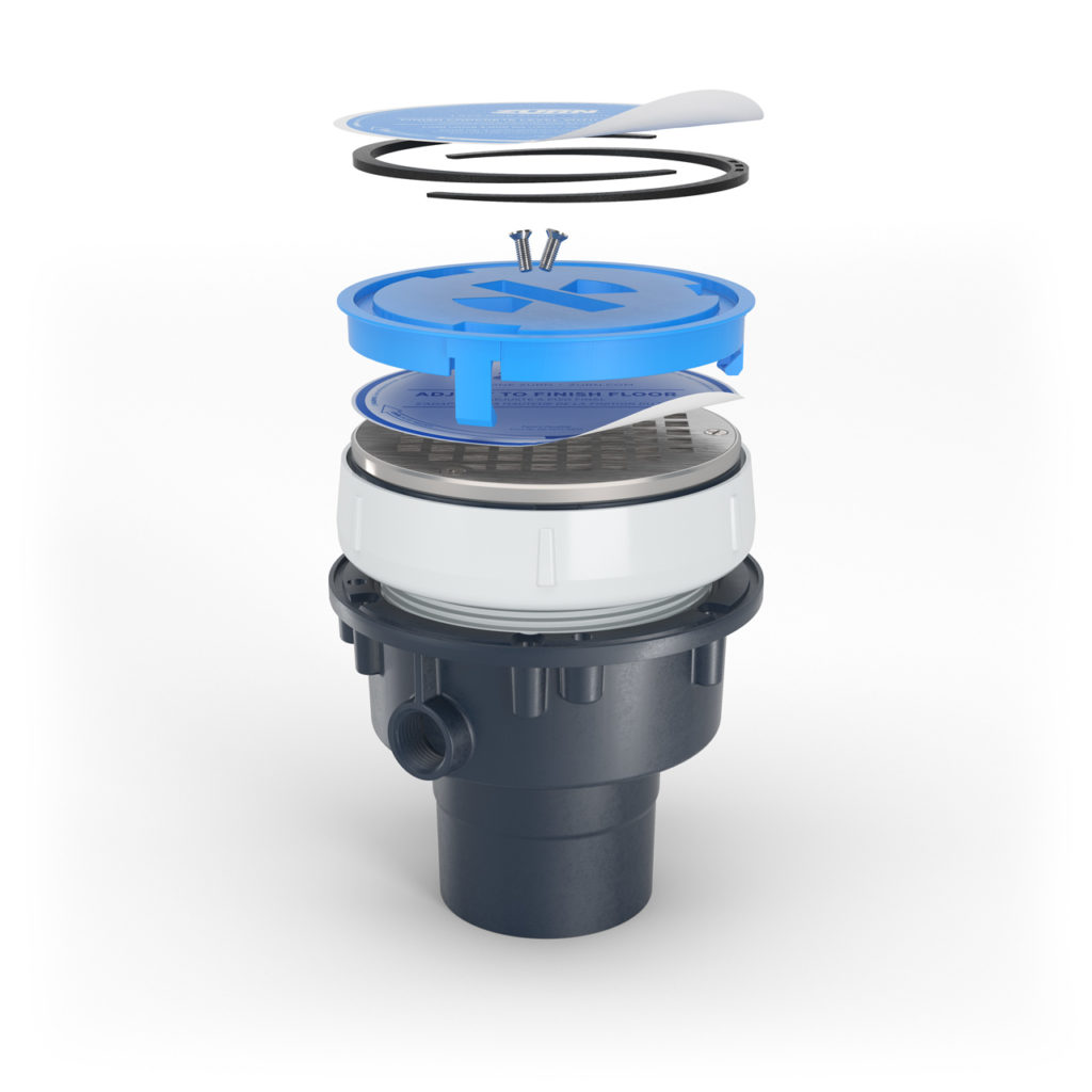 Exploded view of Zurn EZ floor drain with each part separated