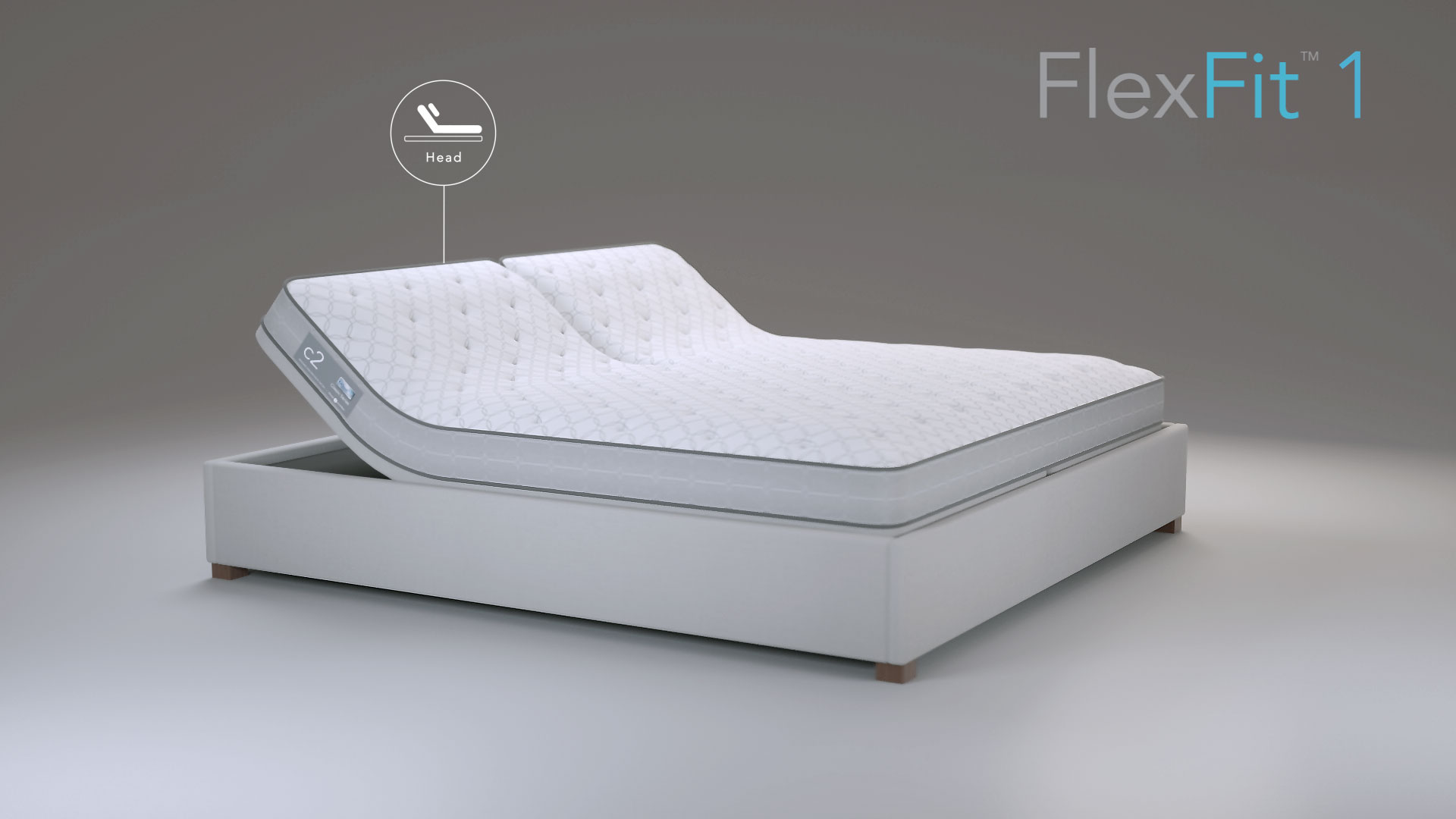"Movable Sleep Number bed and frame in the center of a white space with the words ""Flex Fit 1"" at the top"