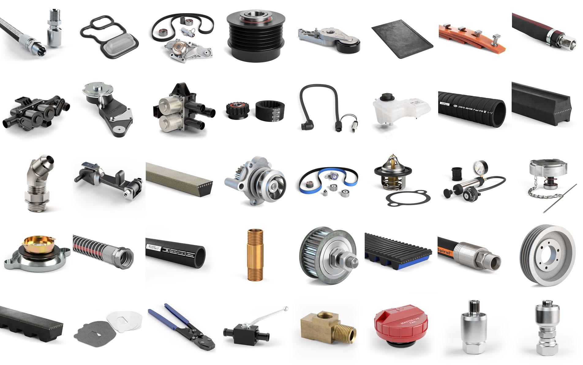 35 evenly spaced industrial and automotive parts from Gates