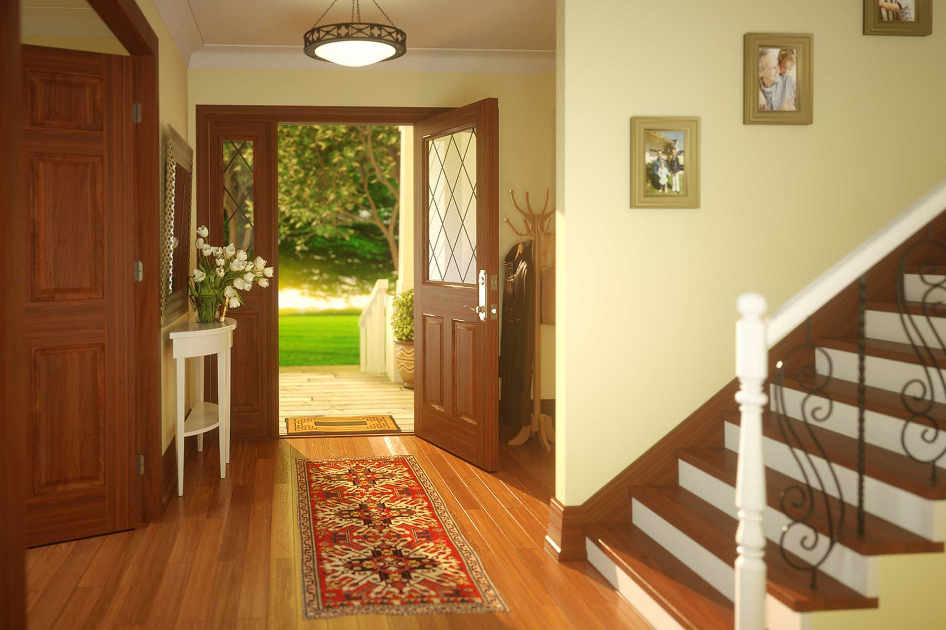 Front door view from inside a home with golden light