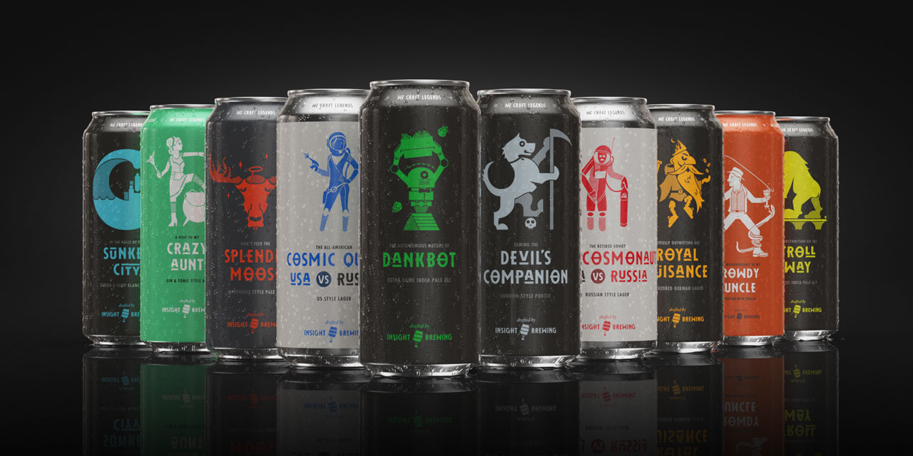 A 3D rendering of Insight's entire beer product line against a black background