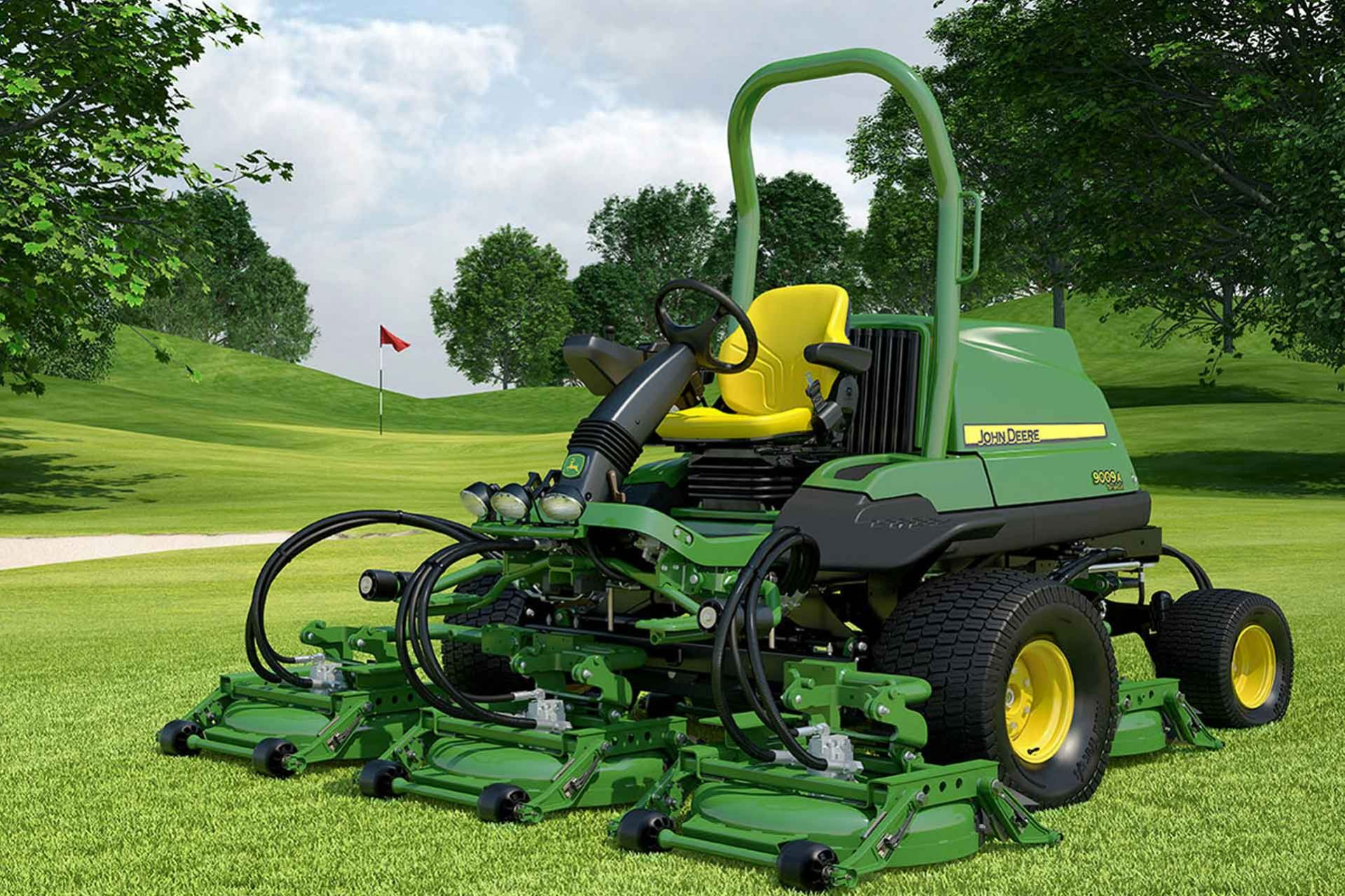 Front view of green and yellow John Deere TerrainCut Mower on a golf course