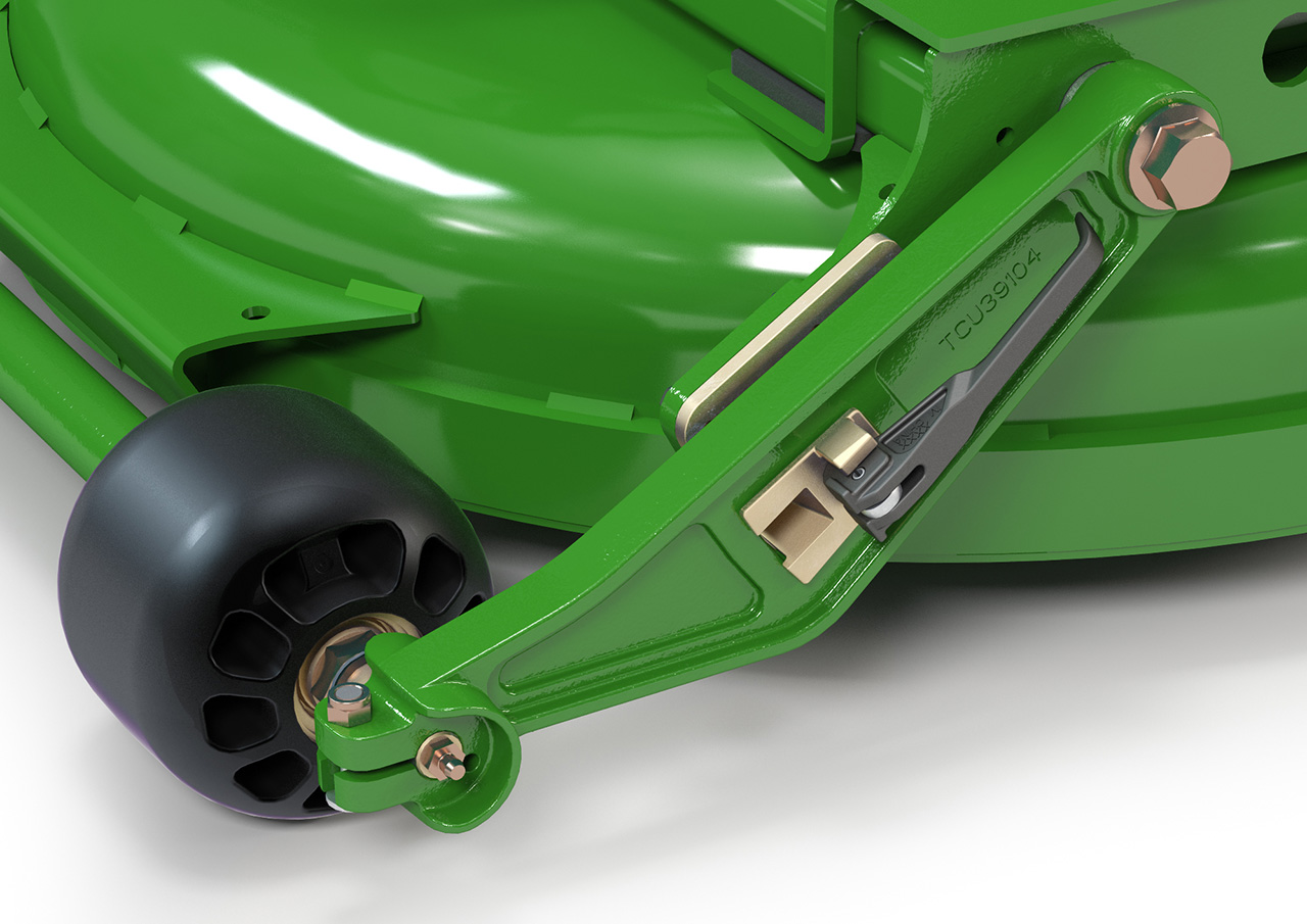 Close render of a green lawnmower cut height control mechanism
