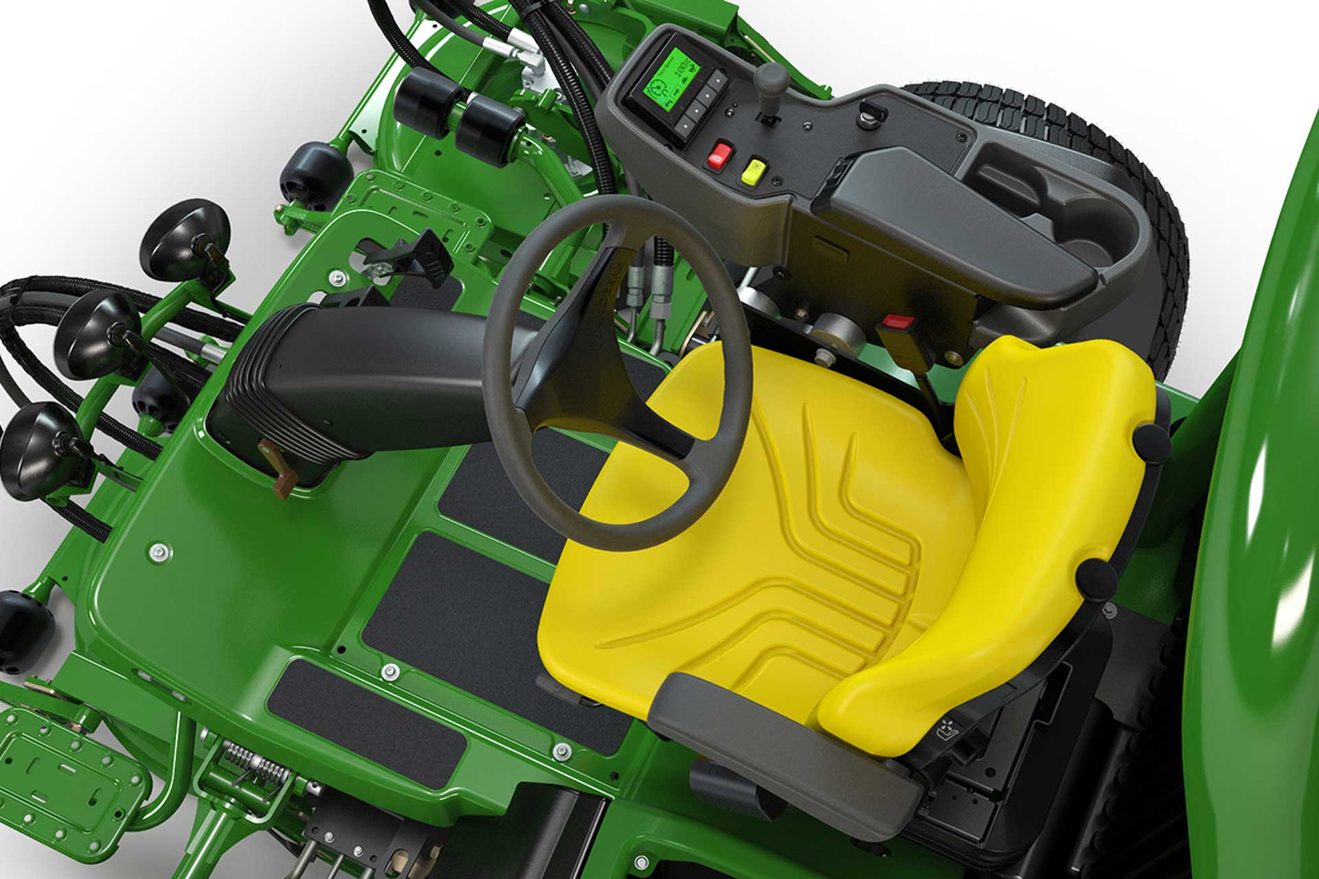 Top-down view of a John Deere riding lawnmower