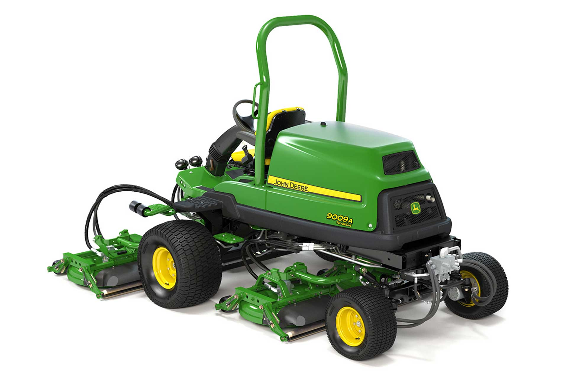 Side view of green and yellow John Deere TerrainCut Mower against white background