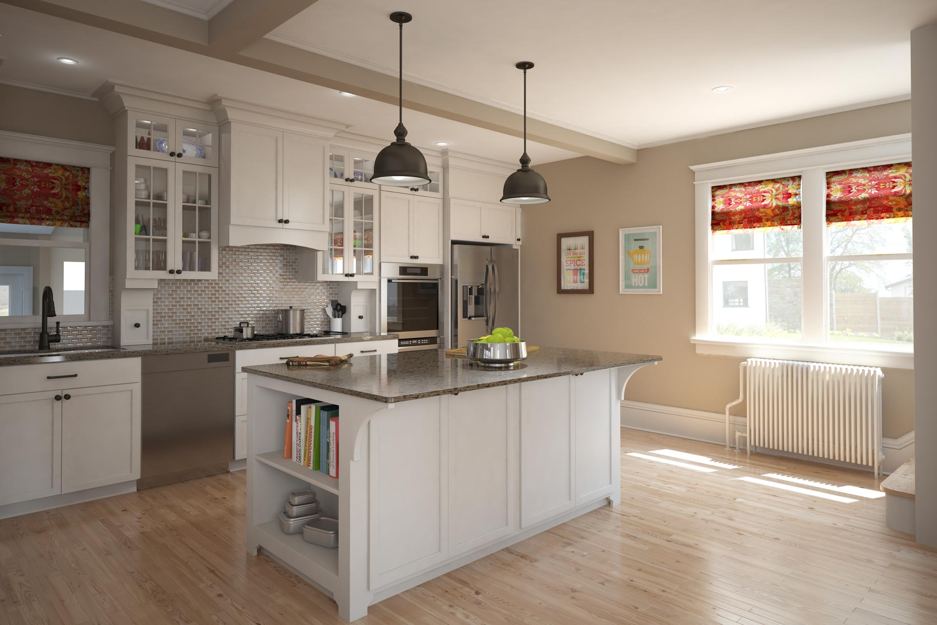 Architectural renders of a brightly lit white kitchen with dark gray counters and an island