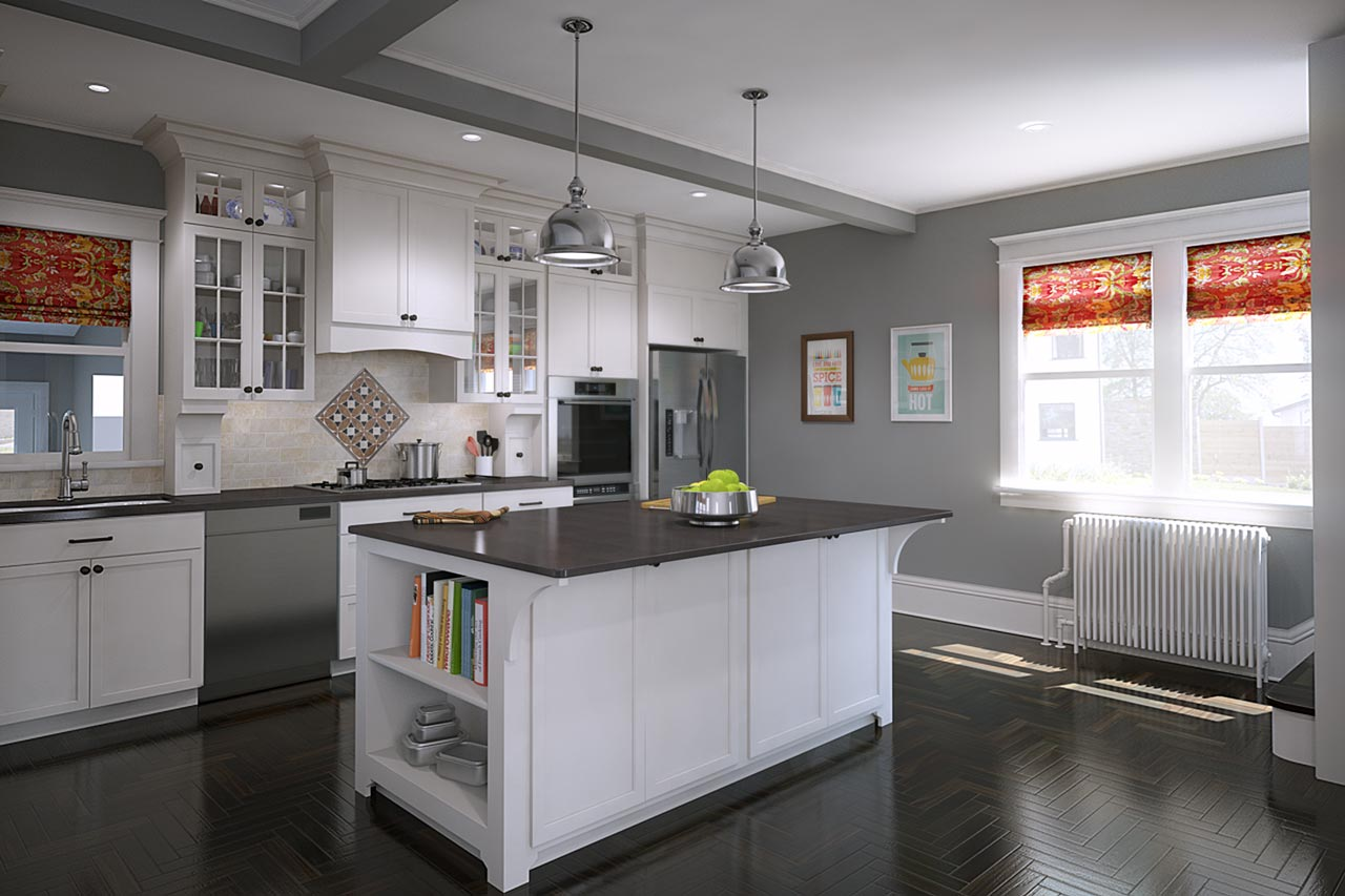 Architectural renders of a white kitchen with dark gray counters and an island