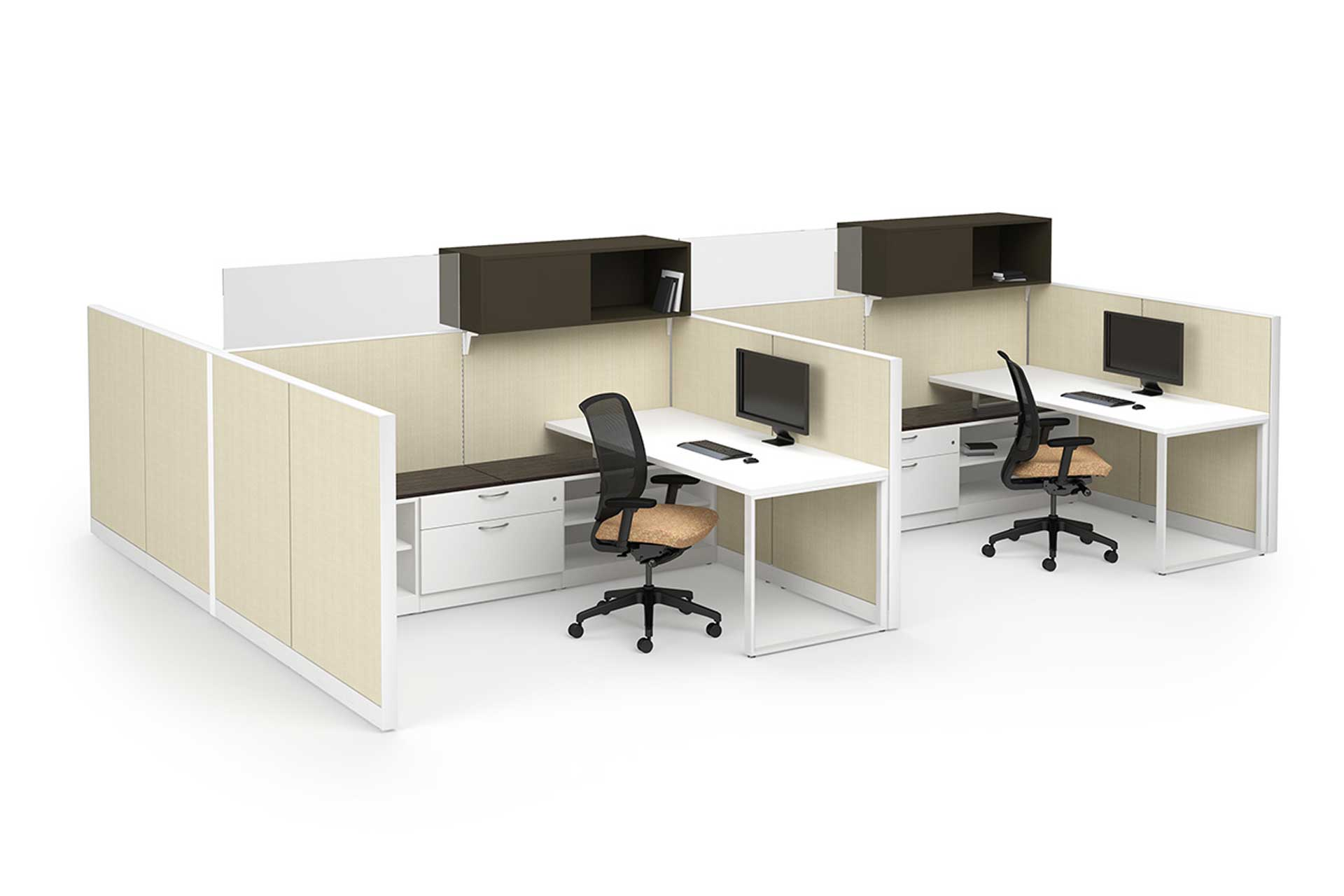 Two office cubicles with swivel chairs, desks, computer monitors, and overhead cabinets against white background