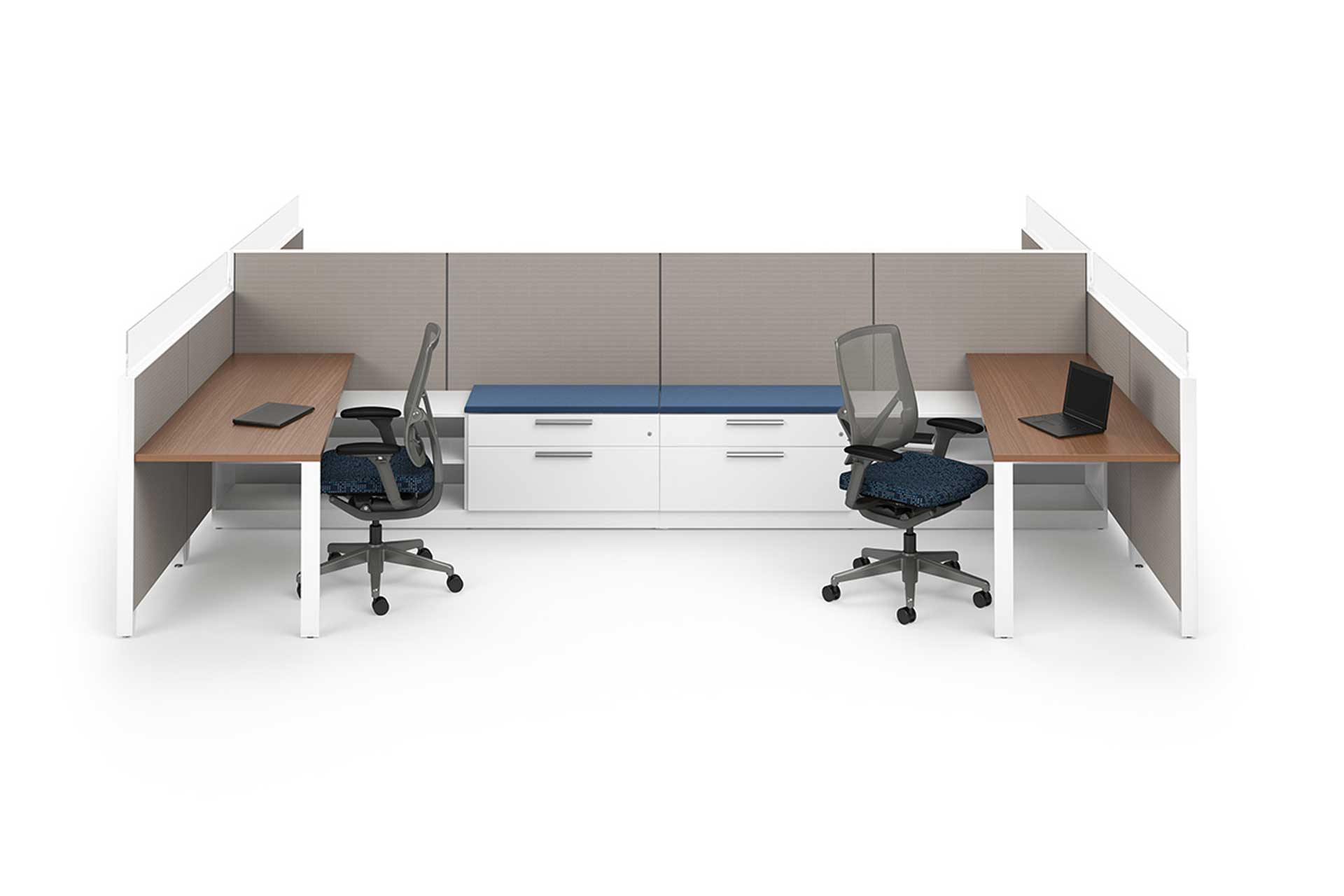 Two office desks back to back with two swivel chairs, desks, cabinets, and dividing walls