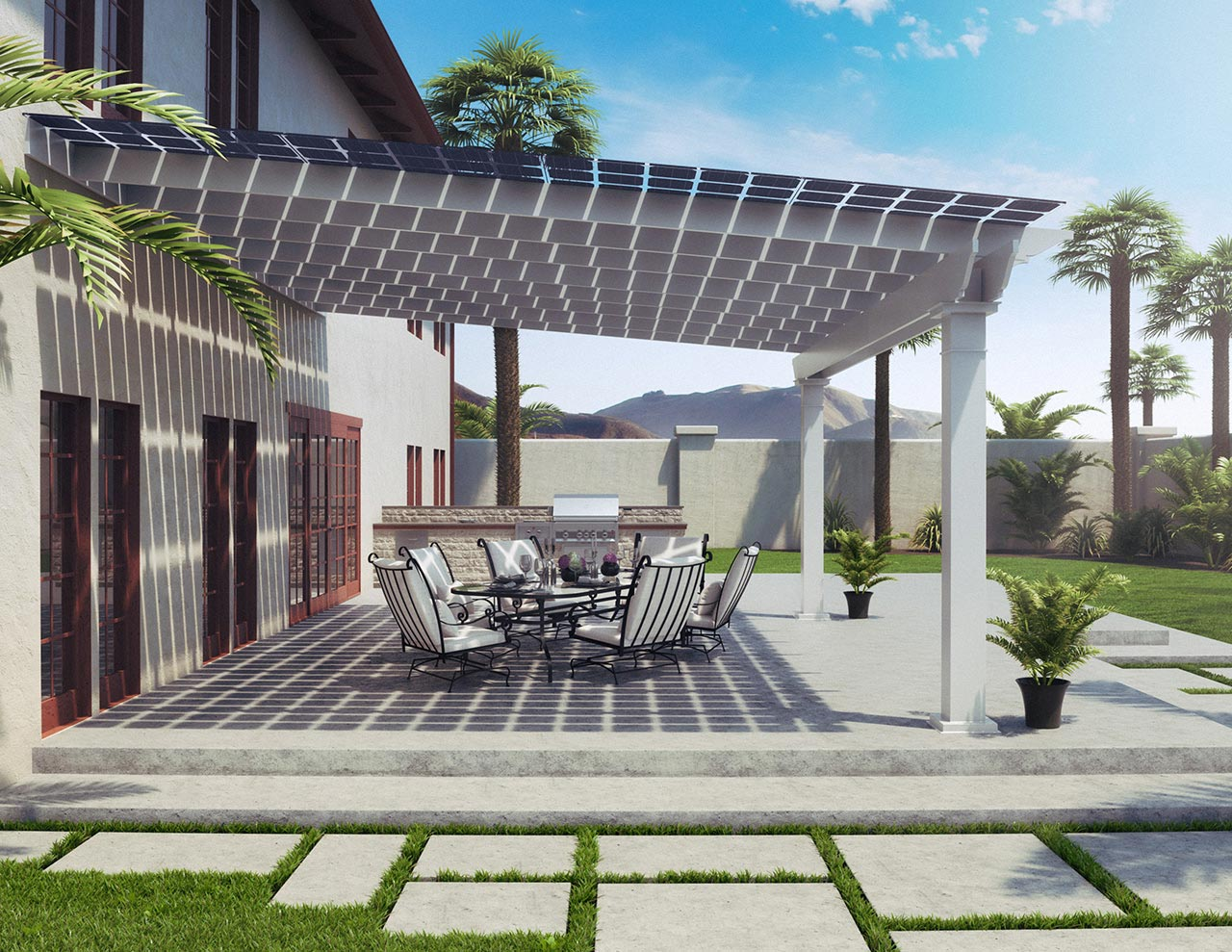 Side view of backyard patio under an awning with solar panels