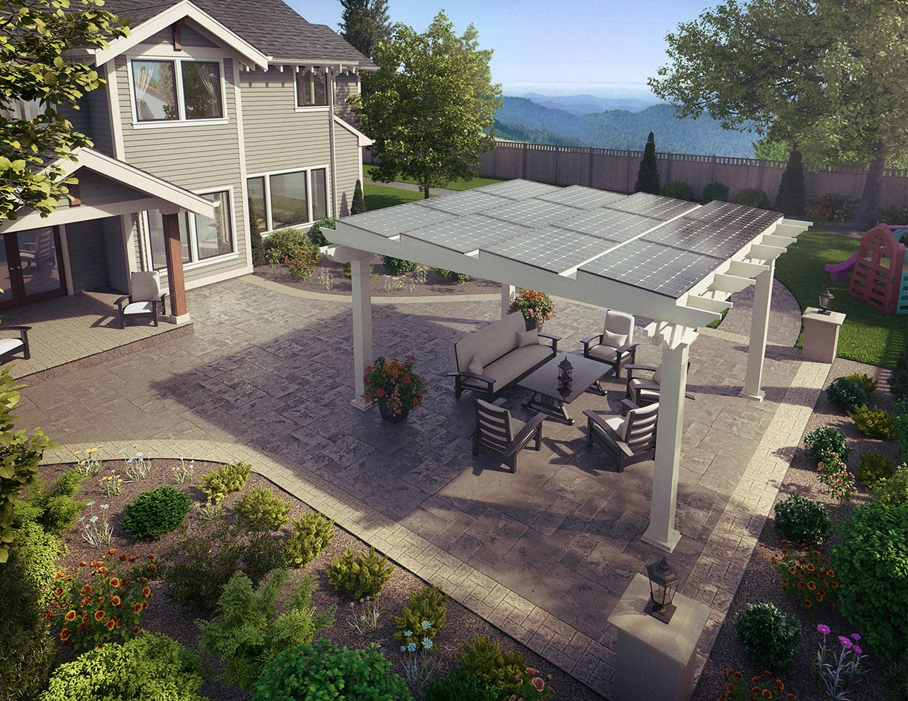 Aerial view of backyard patio under an awning with solar panels