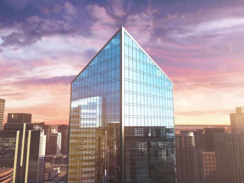 3D still from brand video featuring central skyscraper in front of sunset