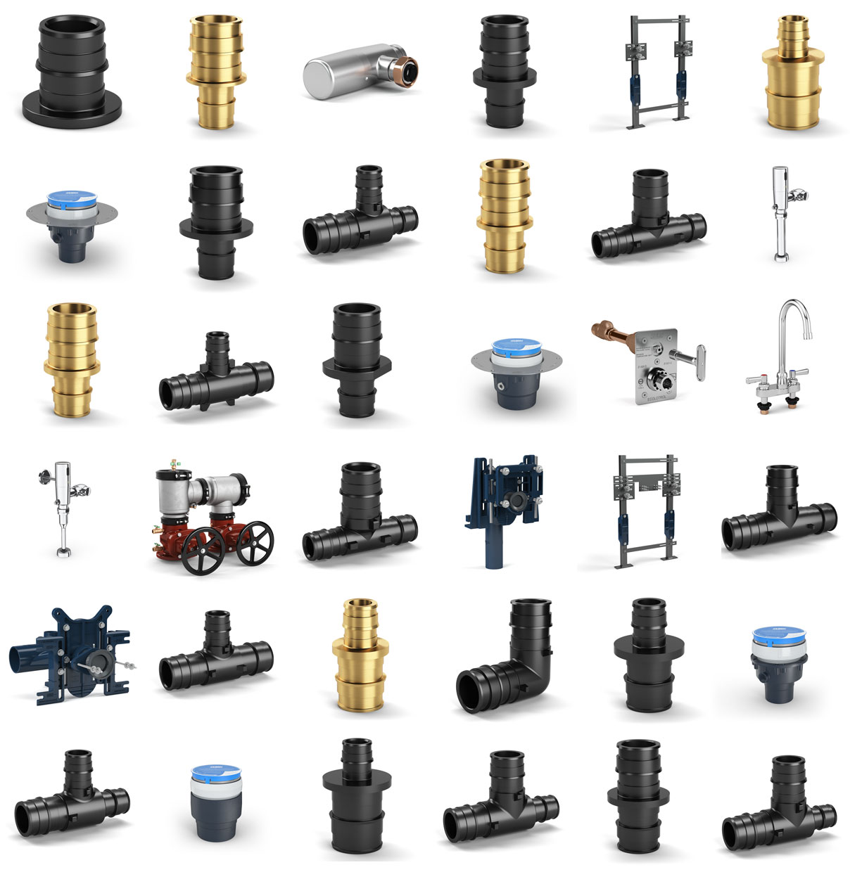 Grid of 36 different water solution parts and tools from Zurn product catalog