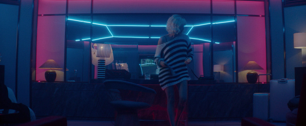 Scene from Atomic Blond featuring pink and blue lighting used for FUSE logo animation project