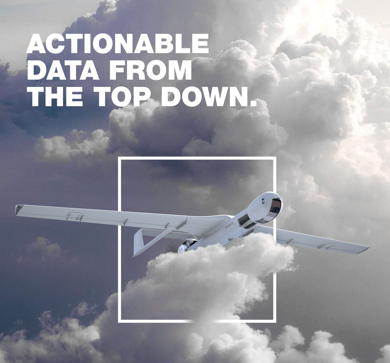 "Boeing ad that reads ""actionable data from the top down"" with an image of the Insitu ScanEagle 3 drone"