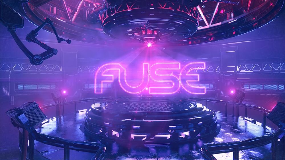 Animation project of an industrial scene with blue and purple lighting with a pink FUSE logo in the center