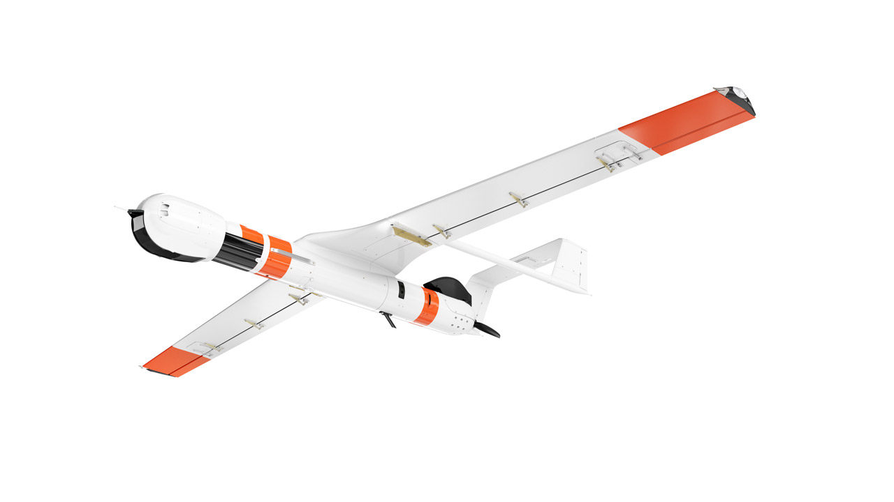 White and orange Insitu ScanEagle 3 drone against white background