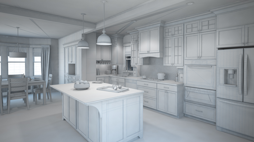 Wire frame image of a kitchen without color to show why companies should replace photography with 3D rendering