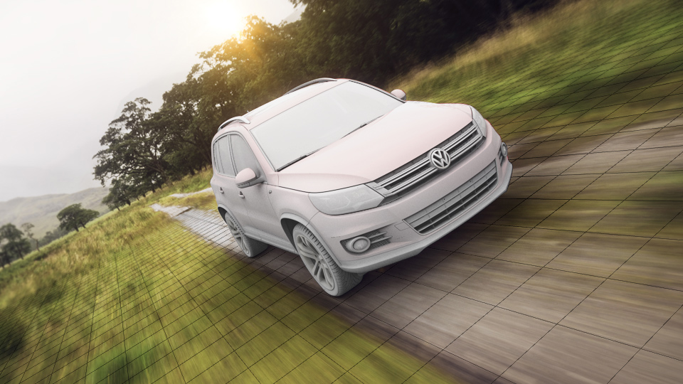 Wireframe image of a VW Tiguan set against dirt road and green field