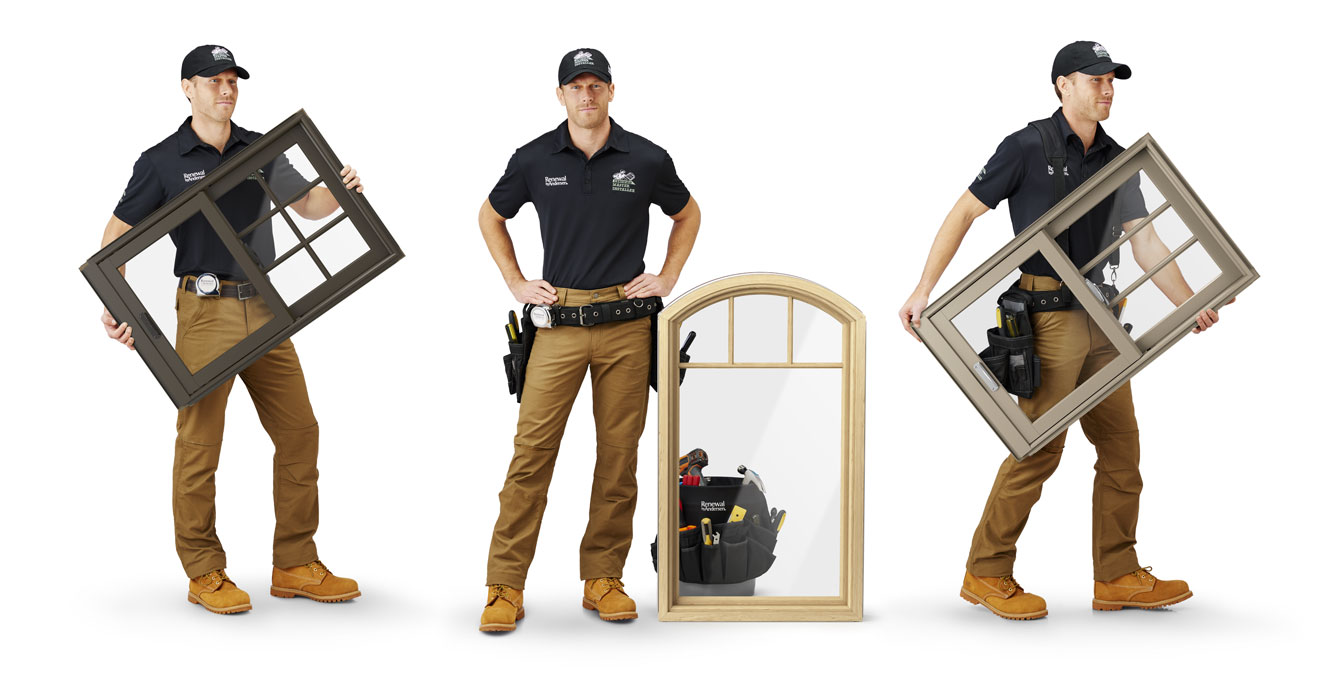 Three images of a man in a Renewal by Andersen uniform holding windows