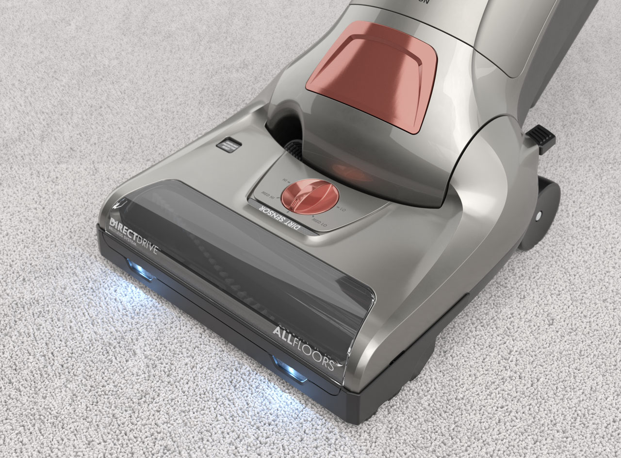 Close-up 3D render of a gray Kenmore vacuum on white carpet