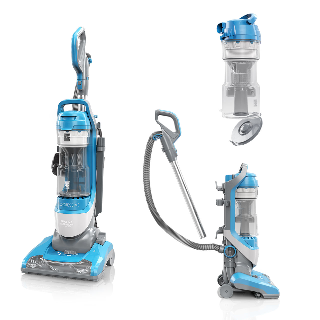 Three images of a blue and gray Kenmore vacuum cleaner showing its many features for the product packaging