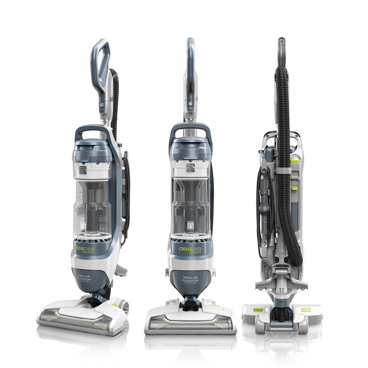 Three standing Kenmore Crossover Max vacuums against white background