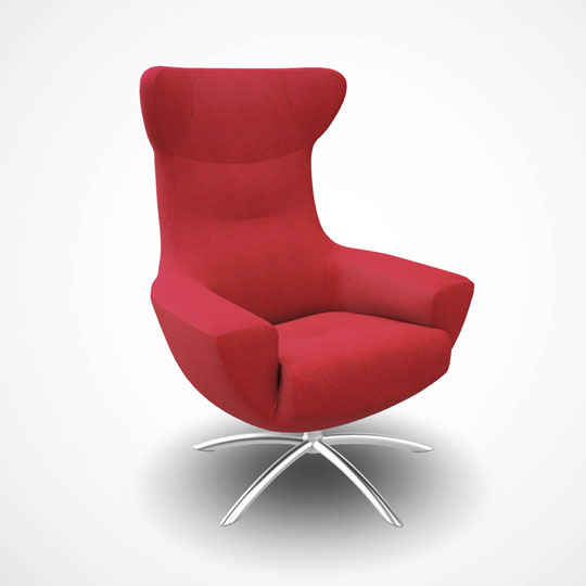Red armchair against white background USDZ thumbnail