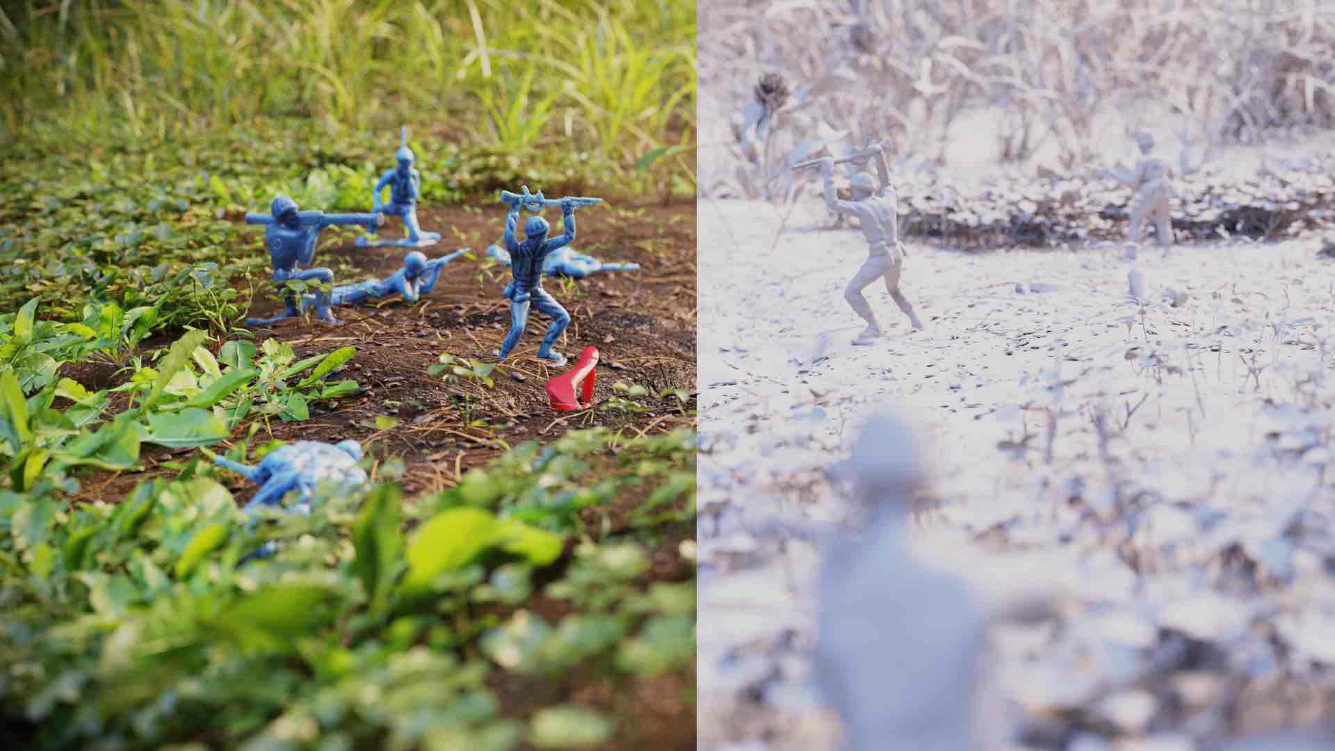 Side by side comparison image of army men on the ground surrounded by plants rendered and without texture