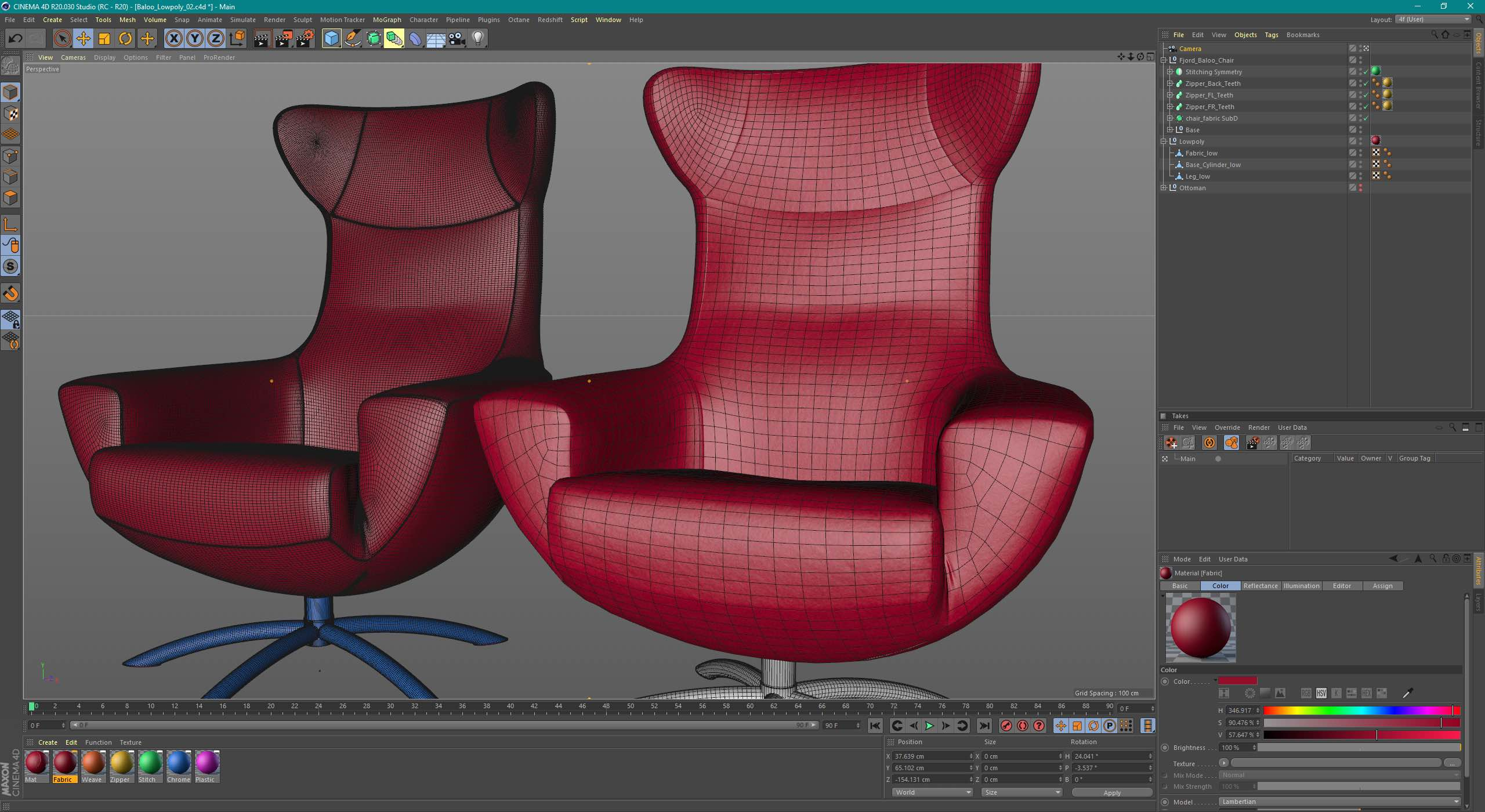 Two red armchair models in 3D rendering program Cinema 4D to build AR experience