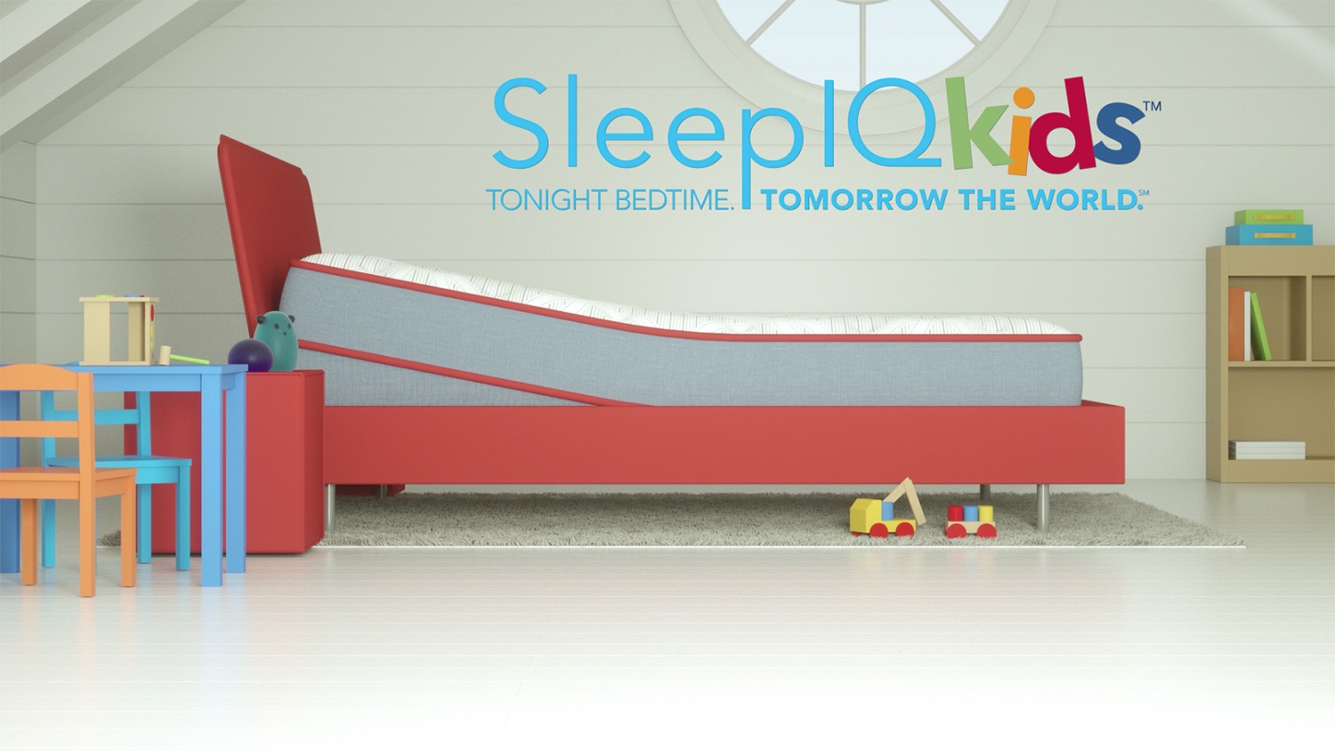 "Side view of children's bed with text reading ""SleepIQ Kids"""