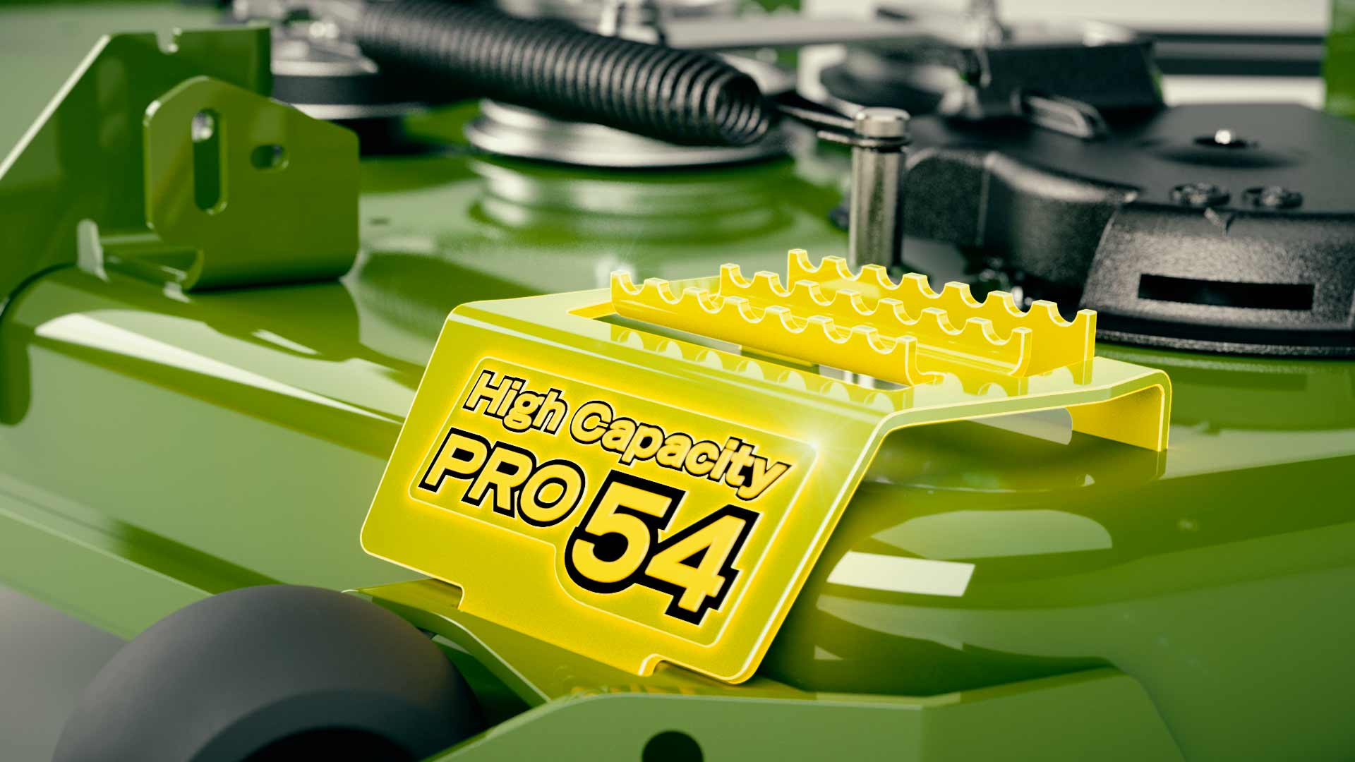 Product animation still of PRO mower deck with green welded step