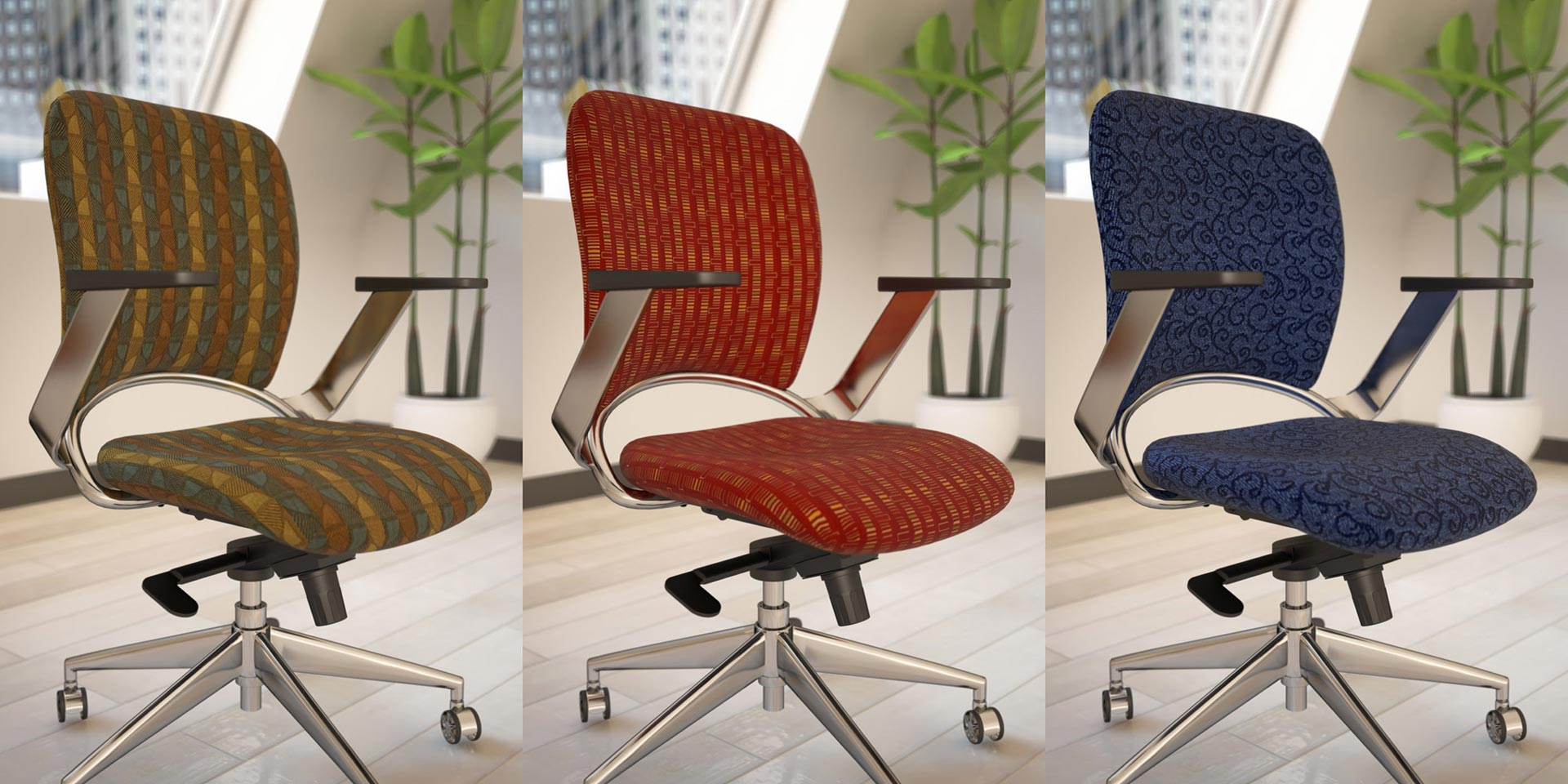 Three 3D rendered office chairs with different colored patterns