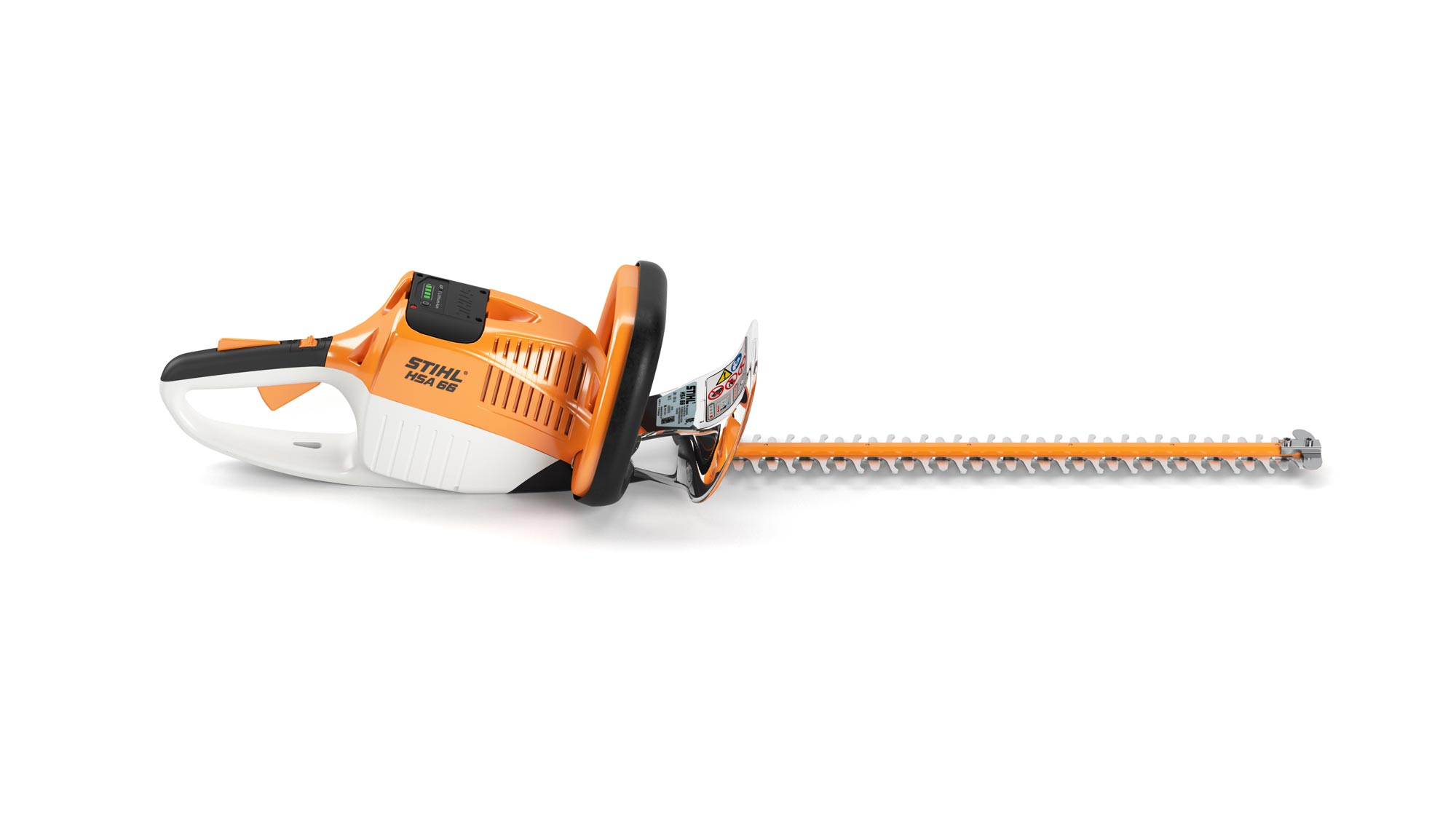 Orange STIHL hedge trimmer against white background