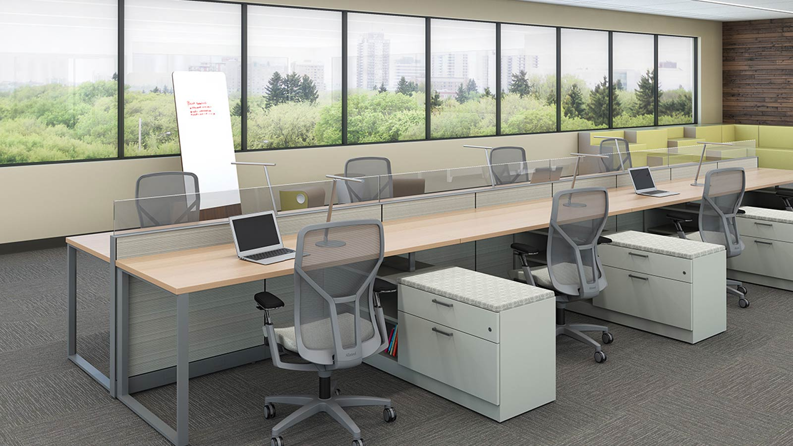 Open office space with divided work stations