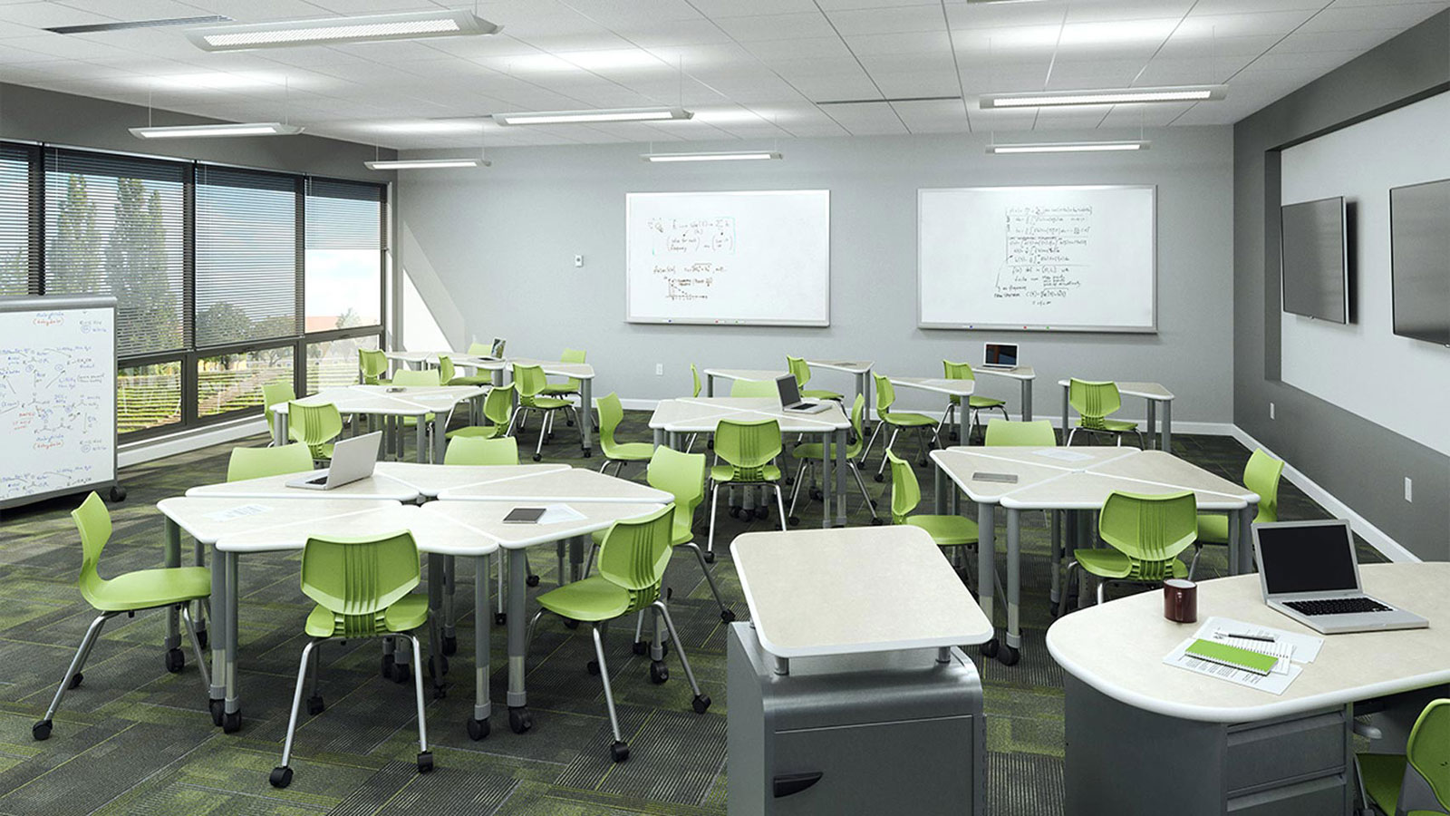 3D rendered furniture in STEM classroom with table clusters and whiteboards