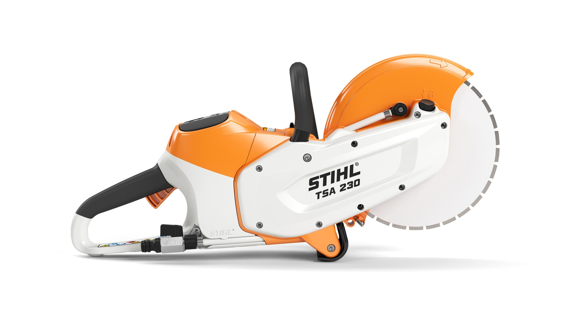 3D product image of orange and white STIHL chainsaw