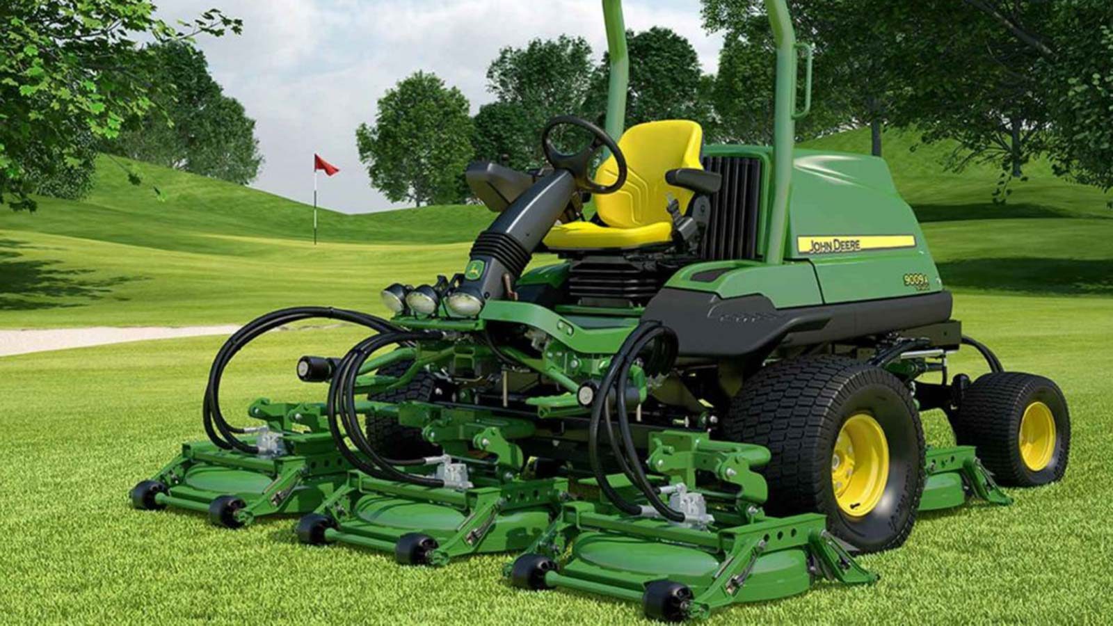 Large-format trade show graphic of John Deere lawn mower