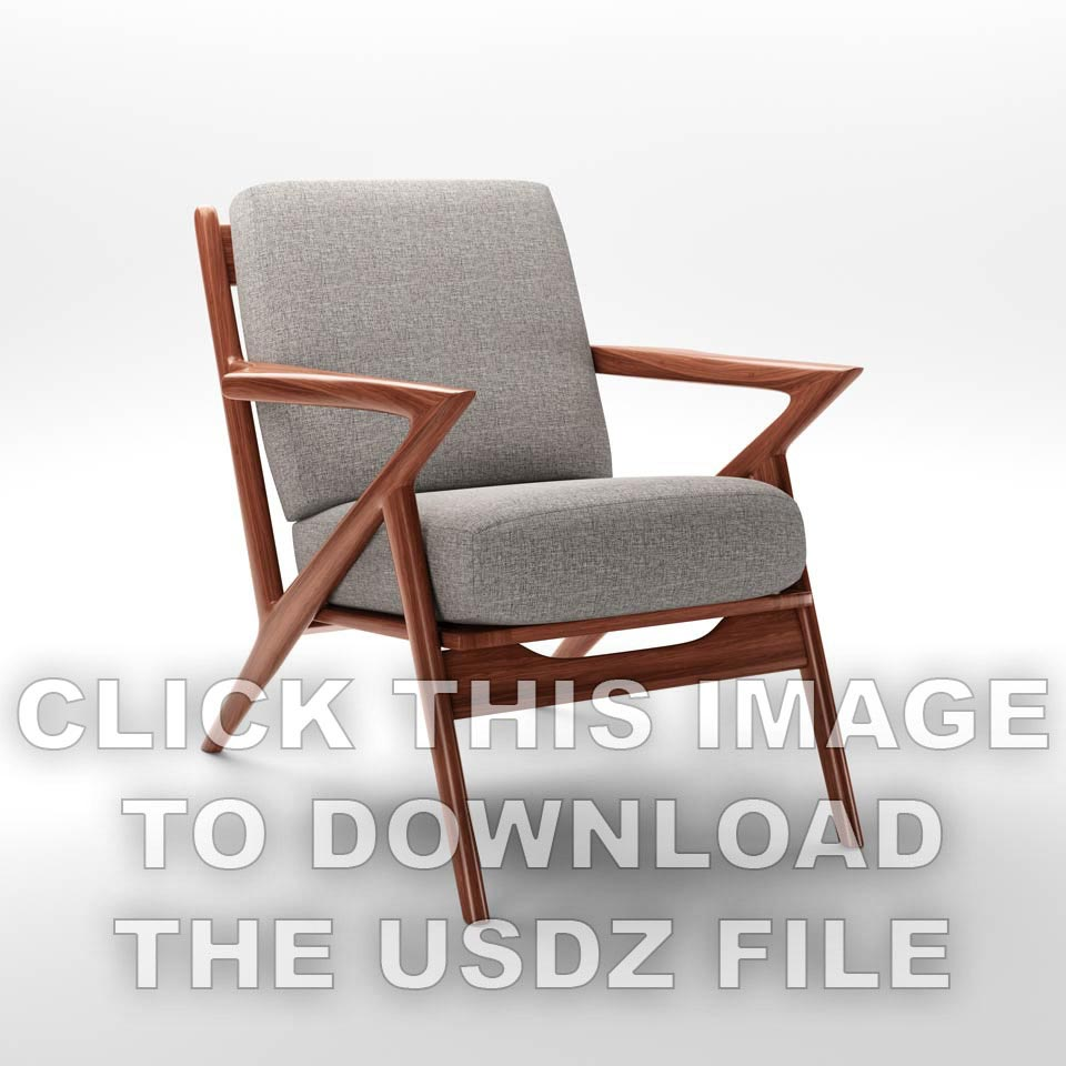 Wood and cloth Soto armchair against white backdrop