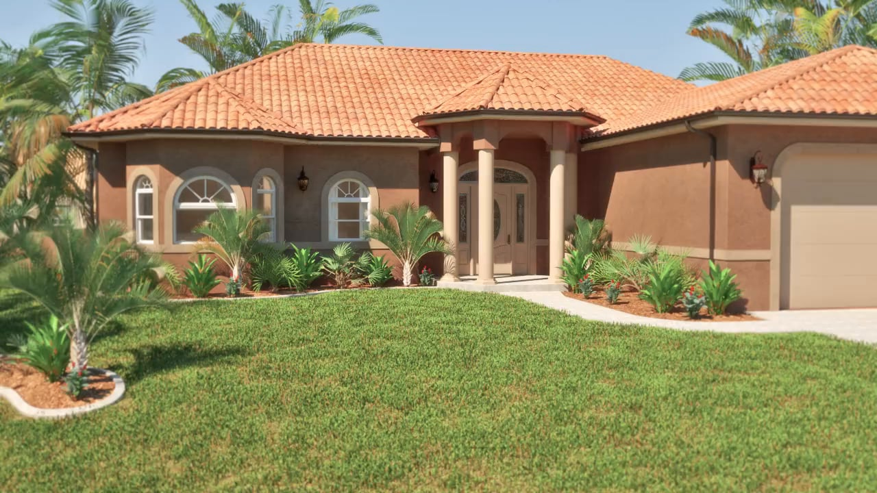 Large house surrounded by palm trees featuring pella windows and doors
