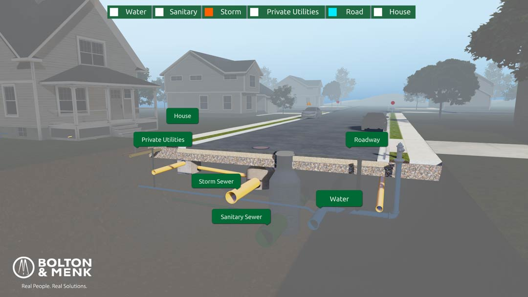 Storm pipes under road in interactive web experience