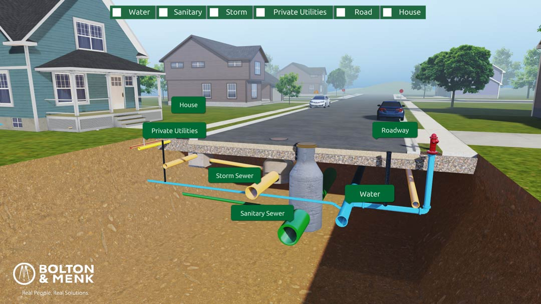 Pipe systems under a residential street in web experience