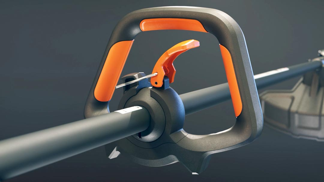 LawnMaster Nopull black and orange comfort handle