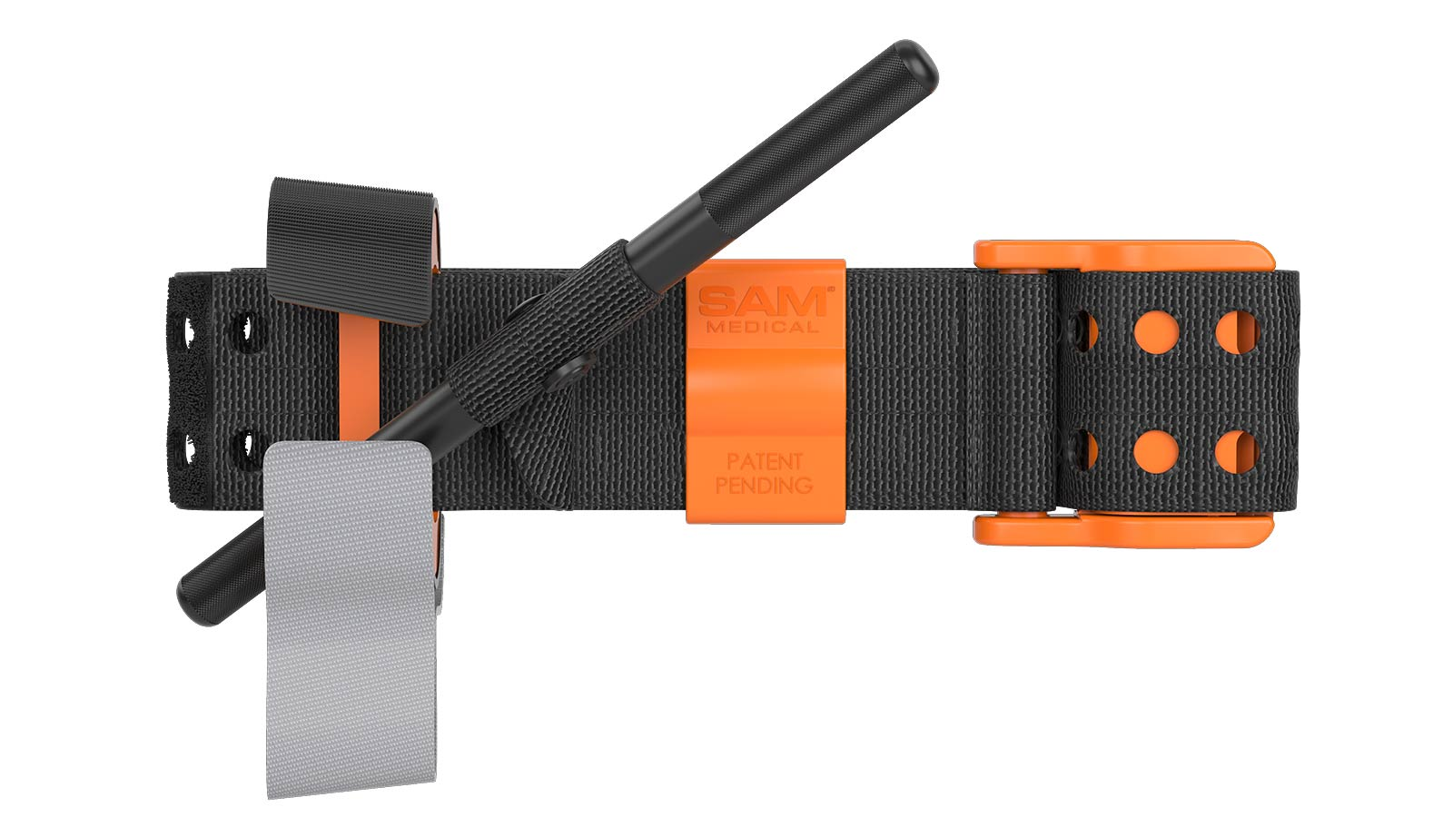 3D rendered black and orange tourniquet against white background