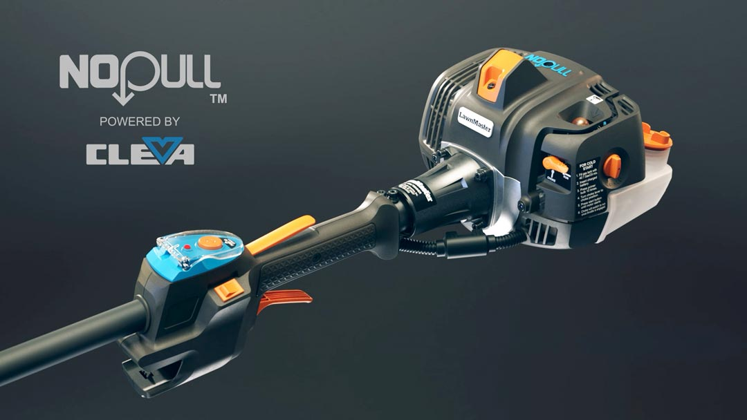 Black, orange, and blue push-button start trimmer