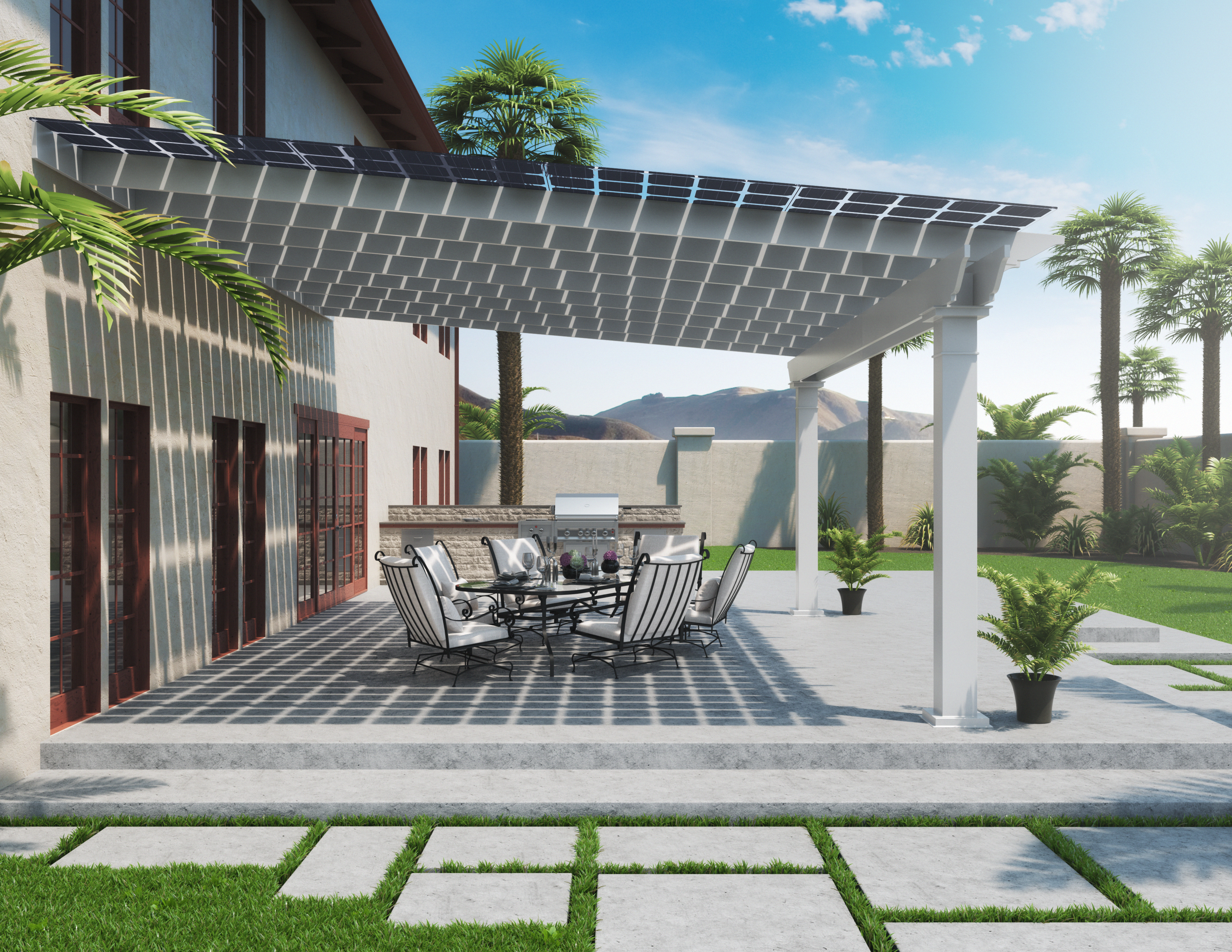 NRG Solar Haven outdoor patio with palm trees